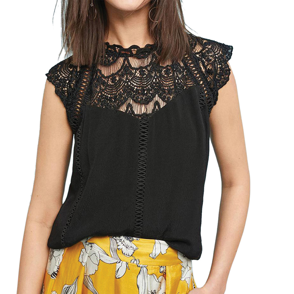 Summer Women Sexy Fashion Hollow Collar Lace Splice Chiffon Tops