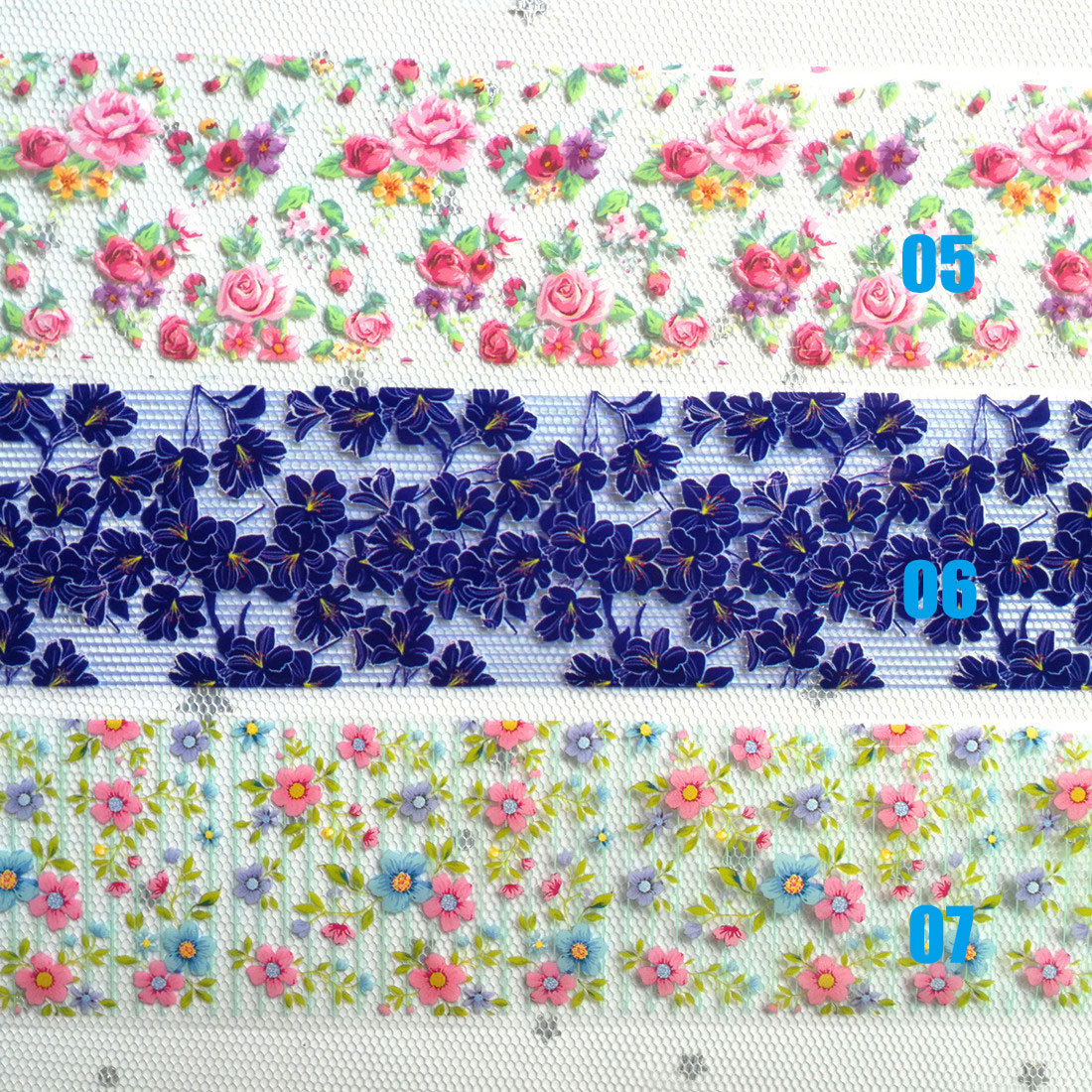 Fashion 3D Decor Colorful Flower Nail Decal Nail Transfer Foil Starry Sky Nail Art Sticker 05