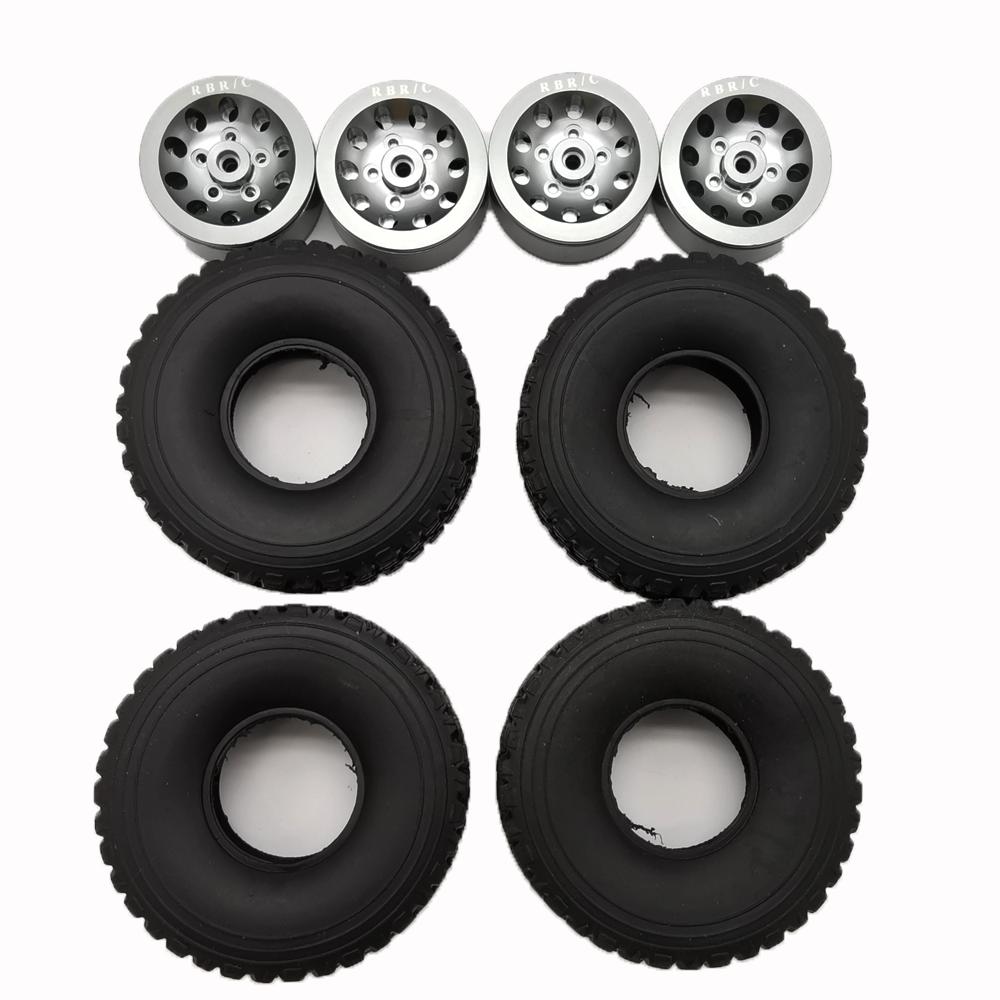 4pcs Mn Model Metal Clamping Pressure Tire Beadlock Wheel Rim & Rubber Tires Set For Wpl 1/16 Mn45 D90 91 96 99 99s 99a 1/12 Rc Car Model Titanium_4PCS tire + wheel tire
