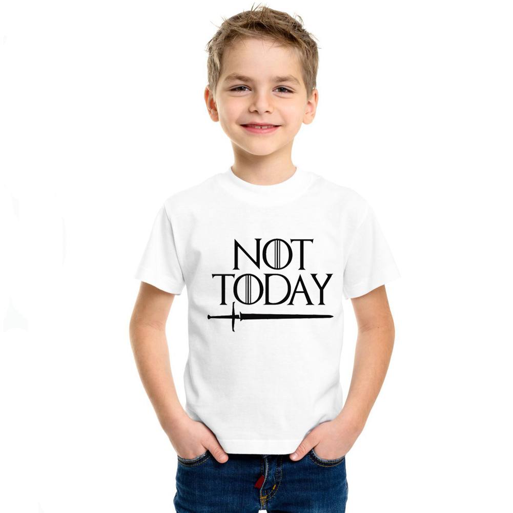 Parent-Child Style Summer Short Sleeves Shirt NOT TODAY Letters Printing Mother-Child Fashion T-shirt