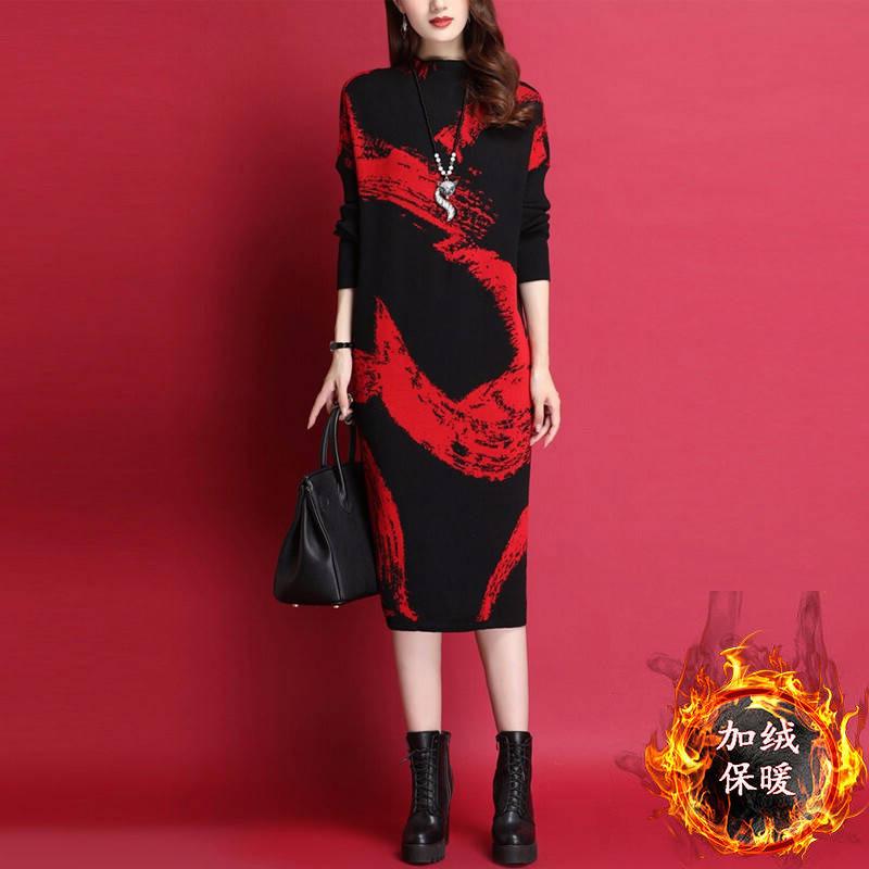 Women Autumn And Winter Fleece Slim Printing Warm Thickening Dress Red _XXL