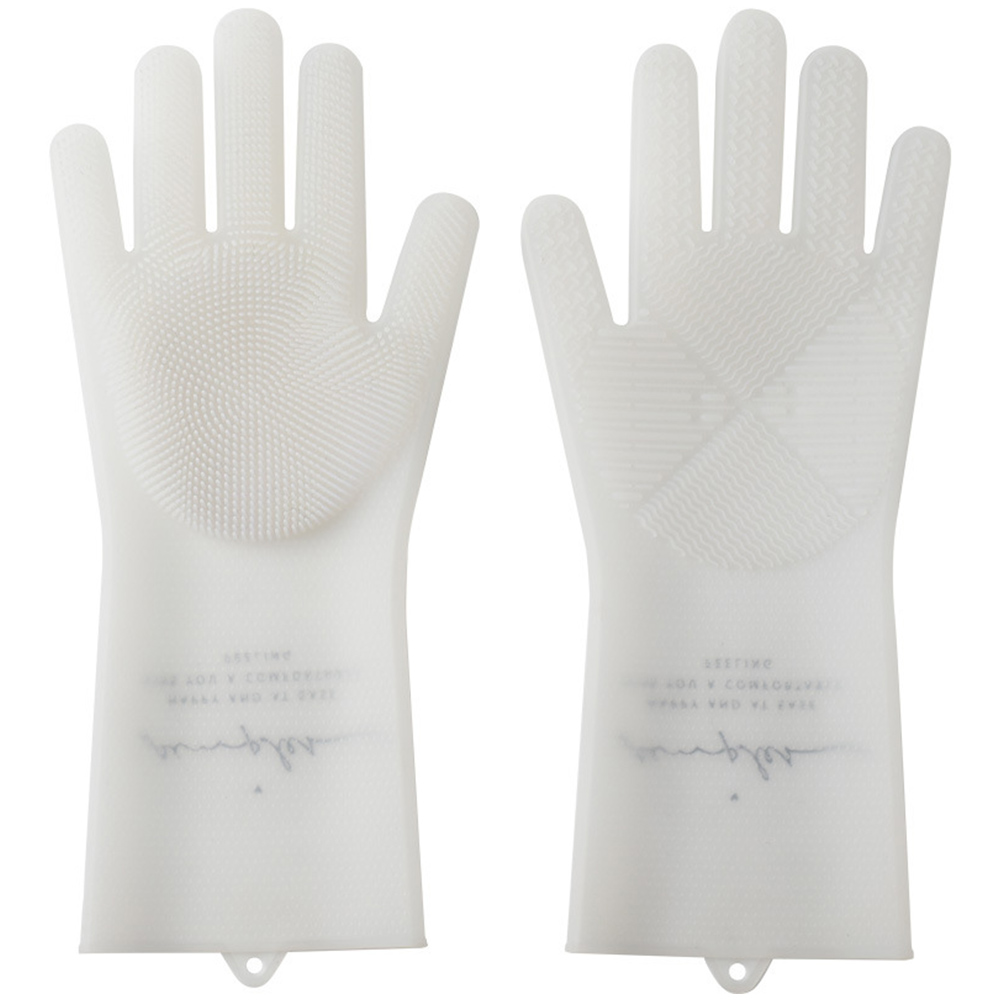 Home Waterproof Thin Silicone Cleaning Gloves for Household Dishwashing white