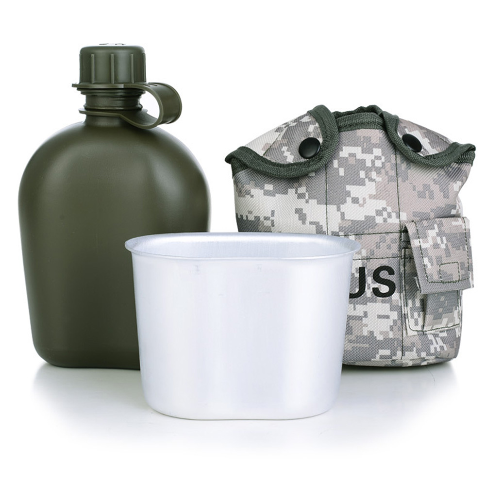 Outdoor Water Bottle Camouflage Water Canteen Kettle With Pouch Cup Set For Camping Hiking Backpacking Survival AT6645