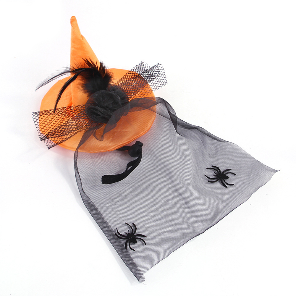 Spider  Headgear With Black Gauze Halloween Hat For Dogs Cats Pet Supplies Orange_One size