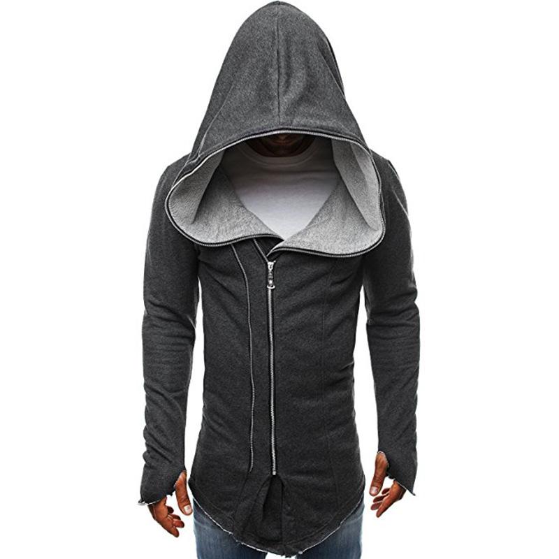 Men Dark Cloak Design Hoodie Fashionable Warm Hooded Pullover Top with Zipper Closure Dark gray_L