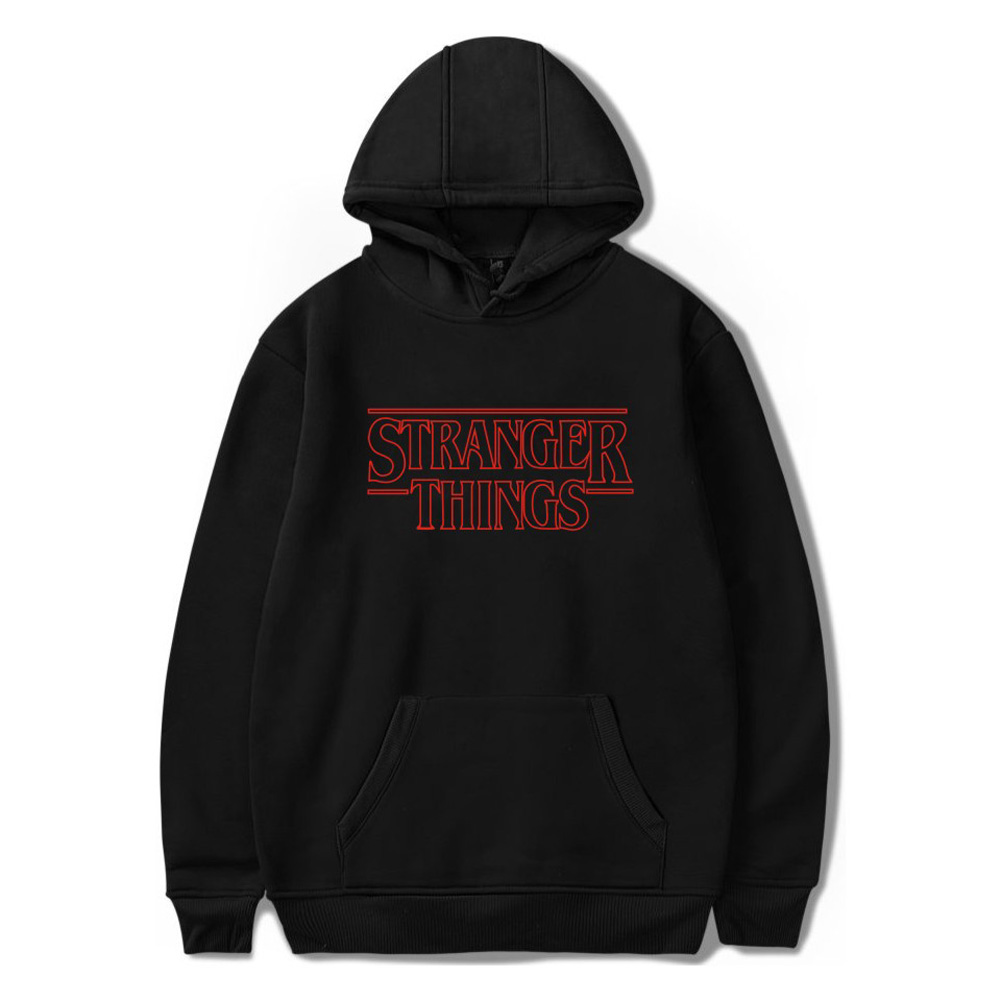 Men Fashion Stranger Things Printing Thickening Casual Pullover Hoodie Tops black--_L