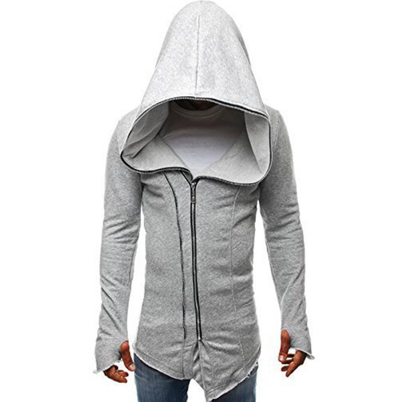 Men Dark Cloak Design Hoodie Fashionable Warm Hooded Pullover Top with Zipper Closure light grey_M