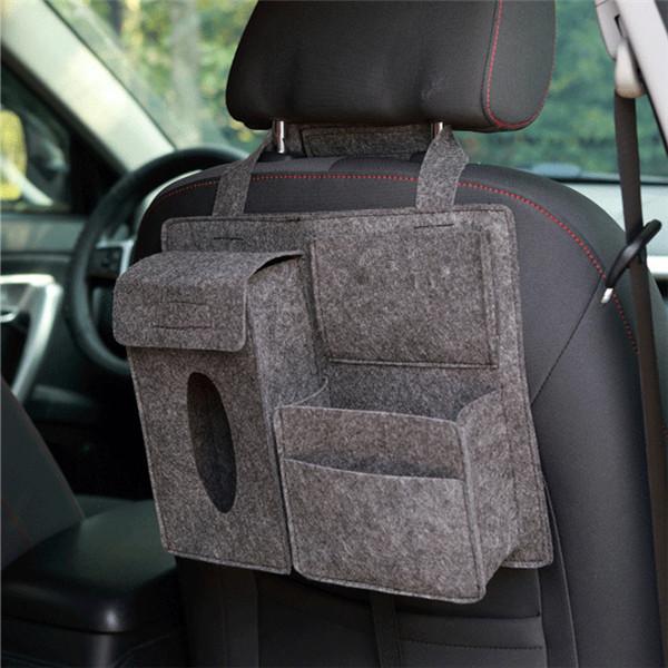 Car Styling Storage Bag Car Organizer Tissue Box Pouch Back Seat Storage Bag Dark gray_Car storage bag