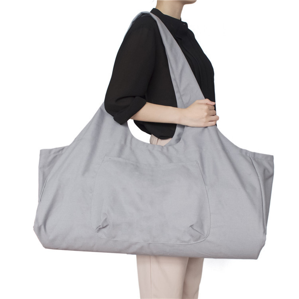 Large Capacity Canvas Yoga Bag Fitness Body One-shoulder Yoga Ma Dancing Clothes Storage Bag gray