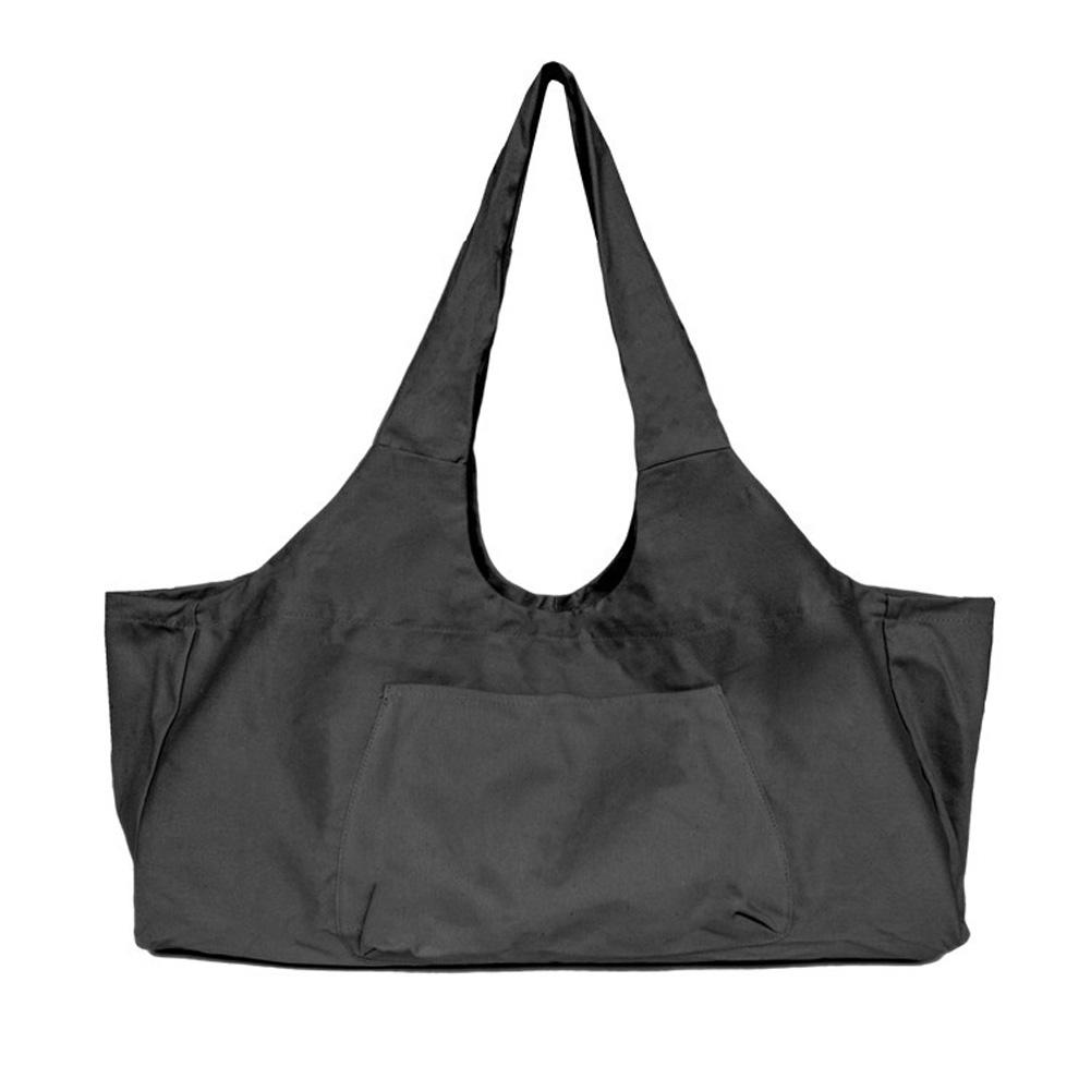 Large Capacity Canvas Yoga Bag Fitness Body One-shoulder Yoga Ma Dancing Clothes Storage Bag black