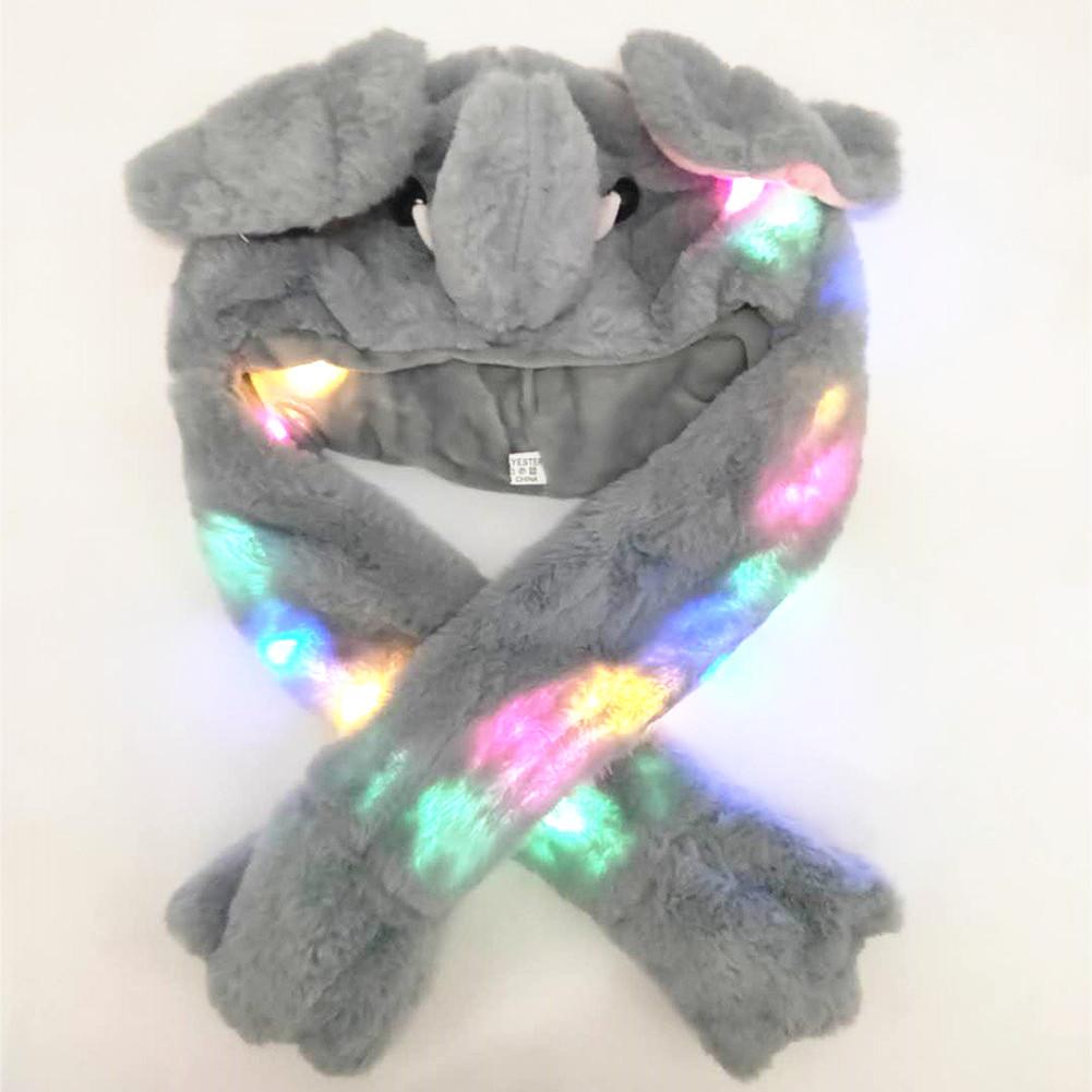 Lighting Lovely Cartoon Jumping Animal Ears Soft Plush Hat Air Bladder Cap Elephant