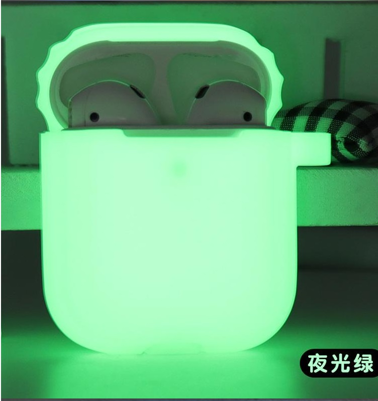 [Indonesia Direct] Silicone Shock Proof Protective Case Glow in the Dark Portable Headset Holder Shell for Apple AirPods As shown