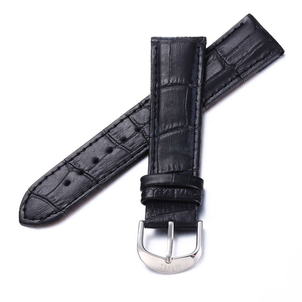 [Indonesia Direct] 20mm PU Leather Grain Strap Watchband Stainless Steel Buckle Replacement Wristband black