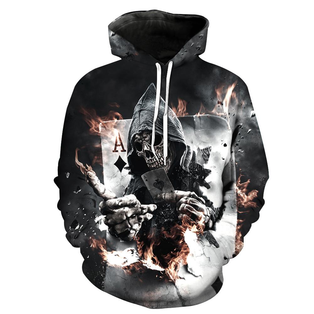 Unisex Vivid 3D Skull Poker Pattern Hoodies Couples Fashion Hooded Tops Baseball Sweatshirts as shown_M