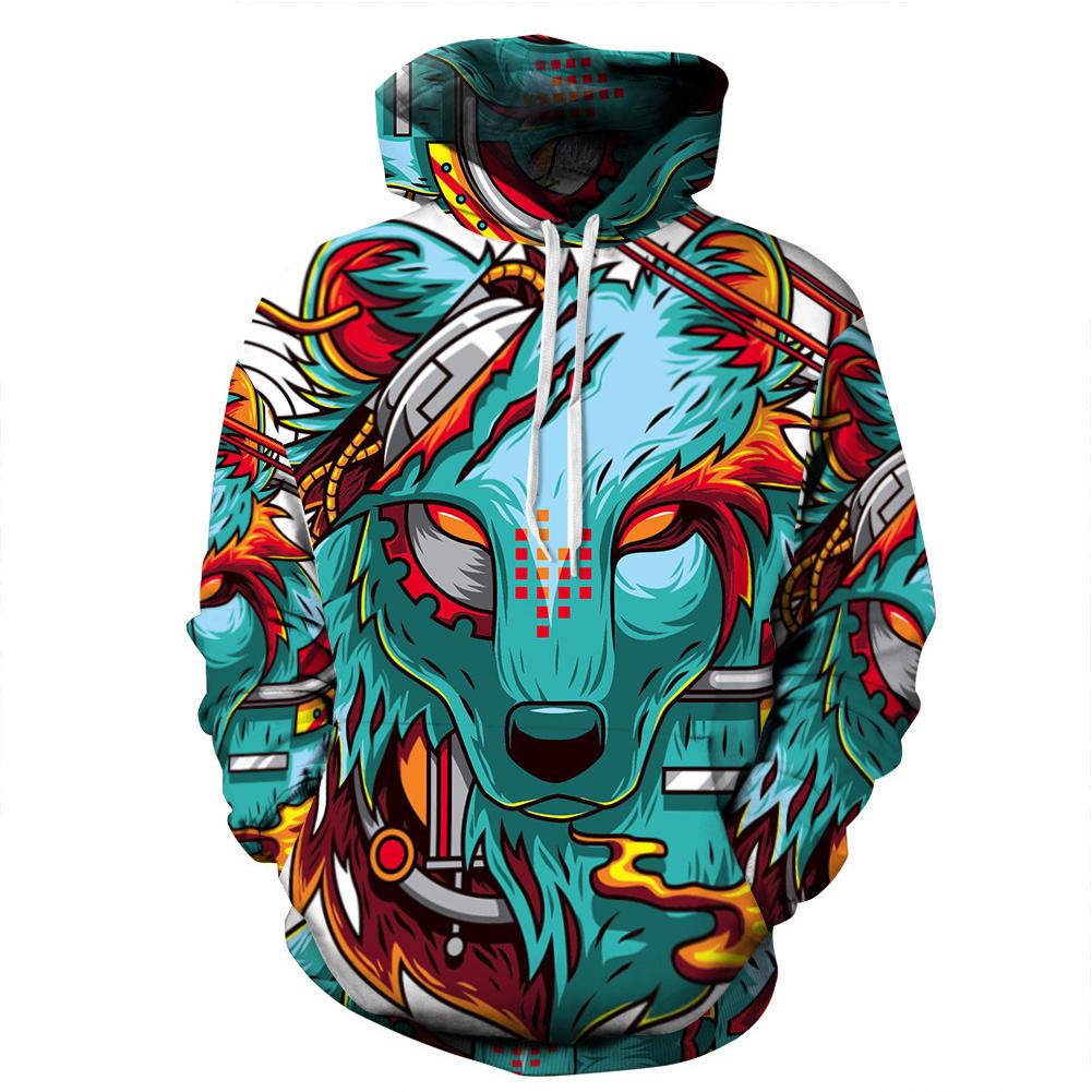 Man Fashion Hoodies Wolf Pattern 3D Digital Printing Fashion Hoodie Sweatshirts Wolf_M