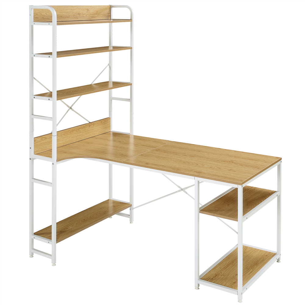 [US Direct] Computer  Desk With 5 Layers Of Open Bookshelf Home Office Table With Plenty Storage Space White