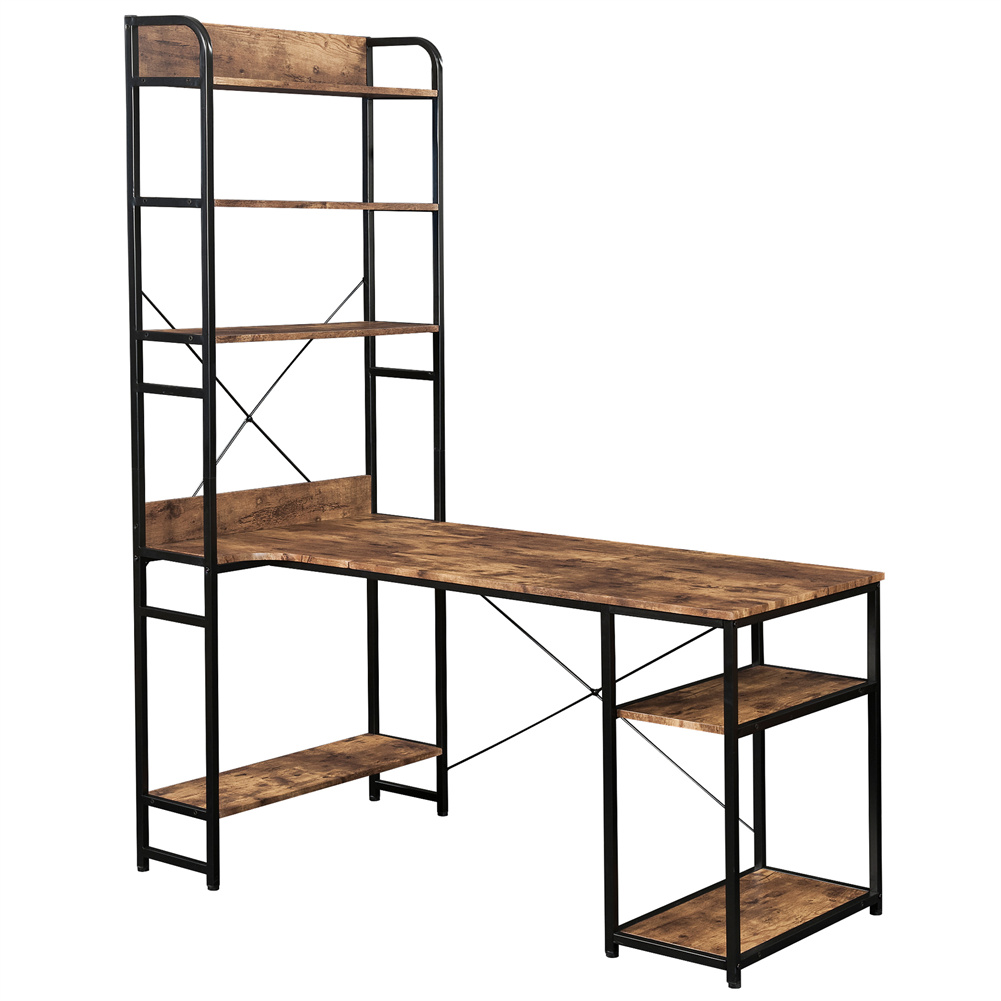 [US Direct] Computer  Desk With 5 Layers Of Open Bookshelf Home Office Table With Plenty Storage Space Brown