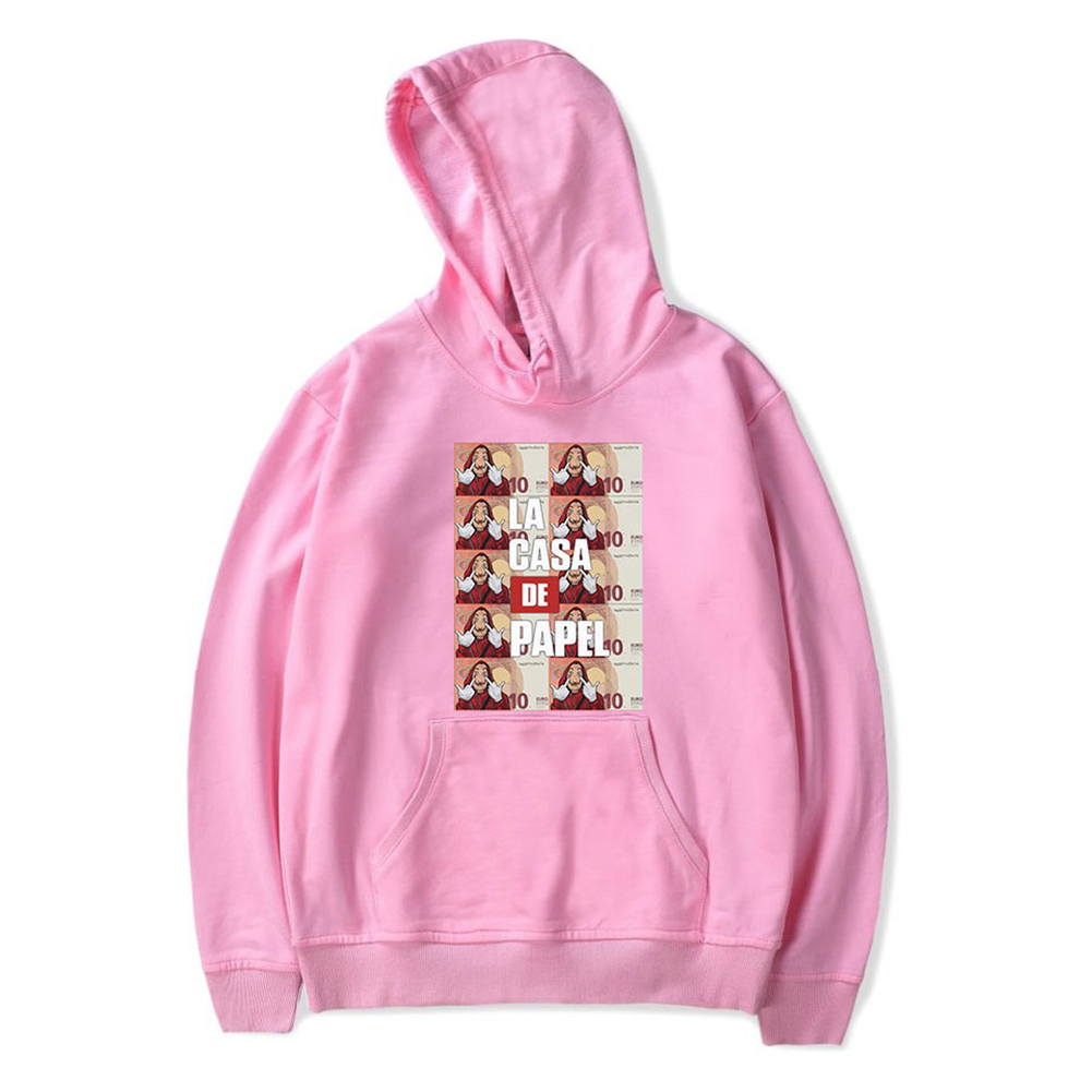 Long Sleeves Hoodie Loose Sweater Pullover with Unique Pattern Decor for Man and Woman Pink B_M