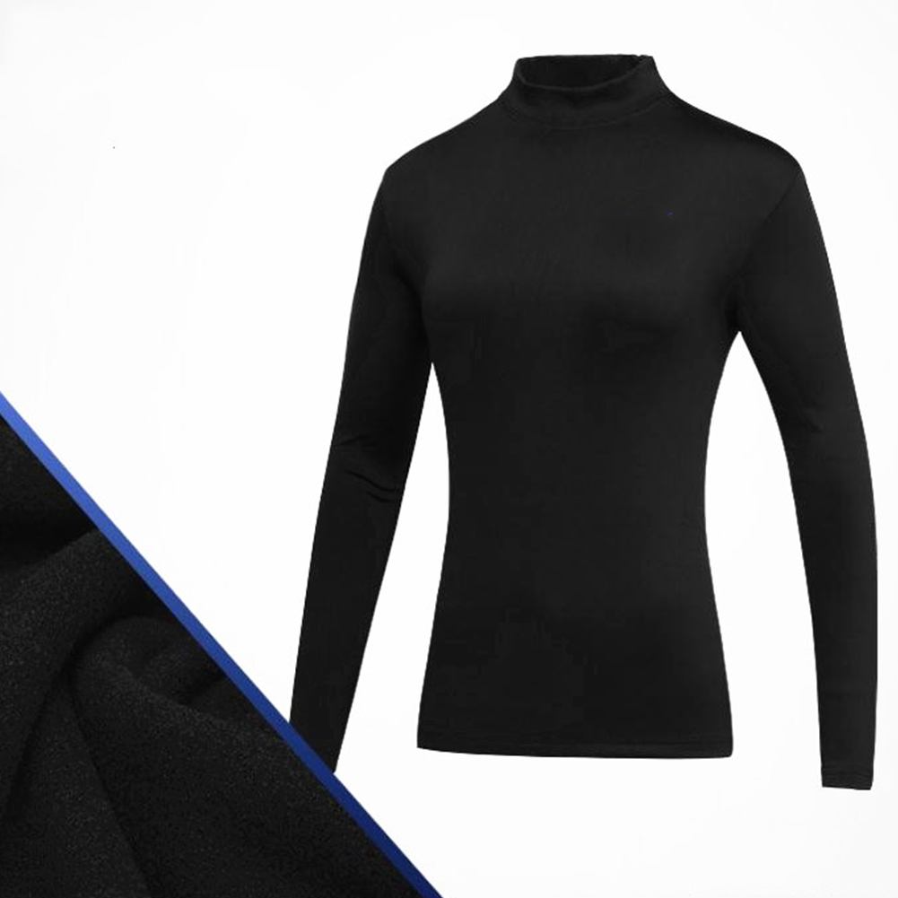 Simier Long Sleeve Golf Clothes for Women Base Shirt black_S