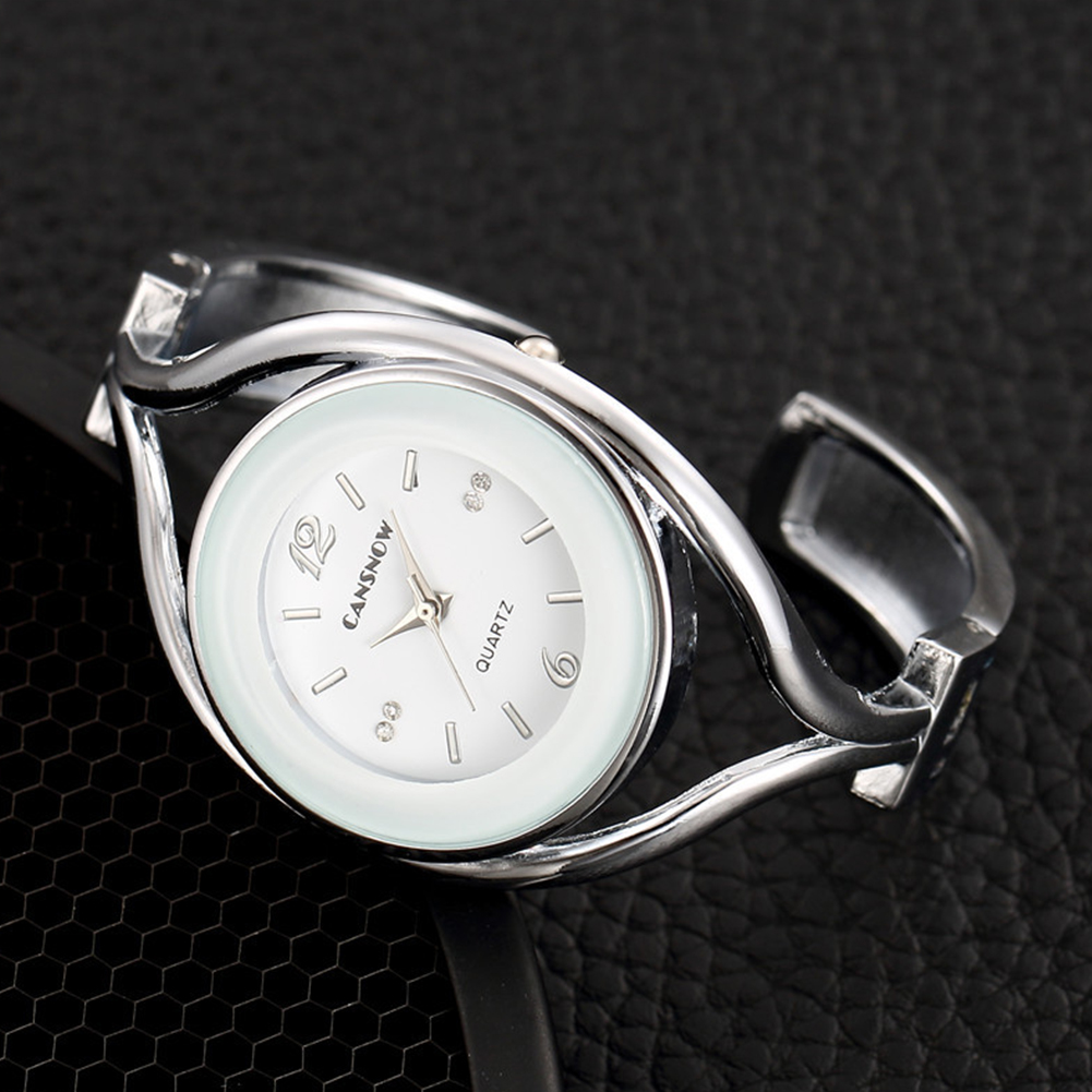 Women Lady Fashion Luxury Quartz Watch All Steel Analog Silver Dial Dress Watch Bracelet Wristwatch Round white