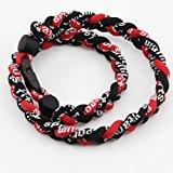 [EU Direct] 3 Rope 20` Titanium Ionic Sports Necklace Baseball Softball Soccer Braided Twist(Black/Black/Red)