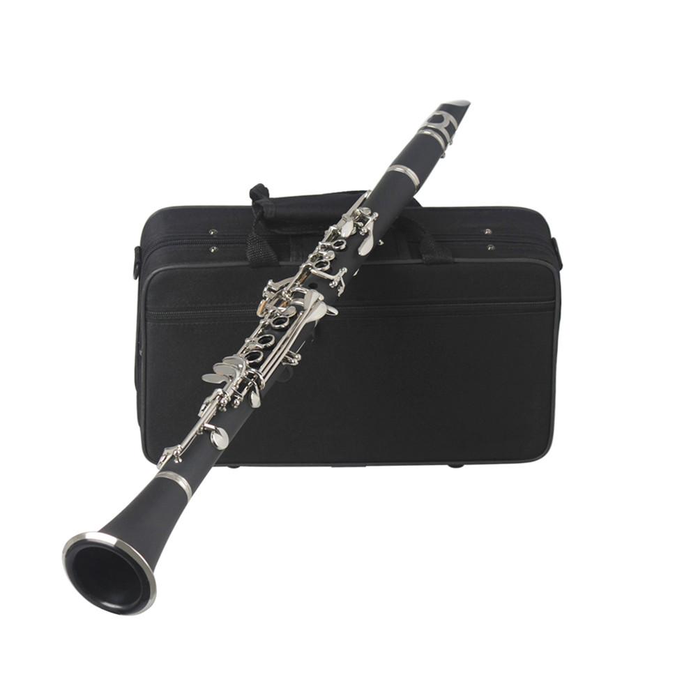 Clarinet ABS 17 Key bB Flat Soprano Binocular Clarinet with Cleaning Cloth Gloves Reeds Screwdriver Woodwind Instrument black_No logo