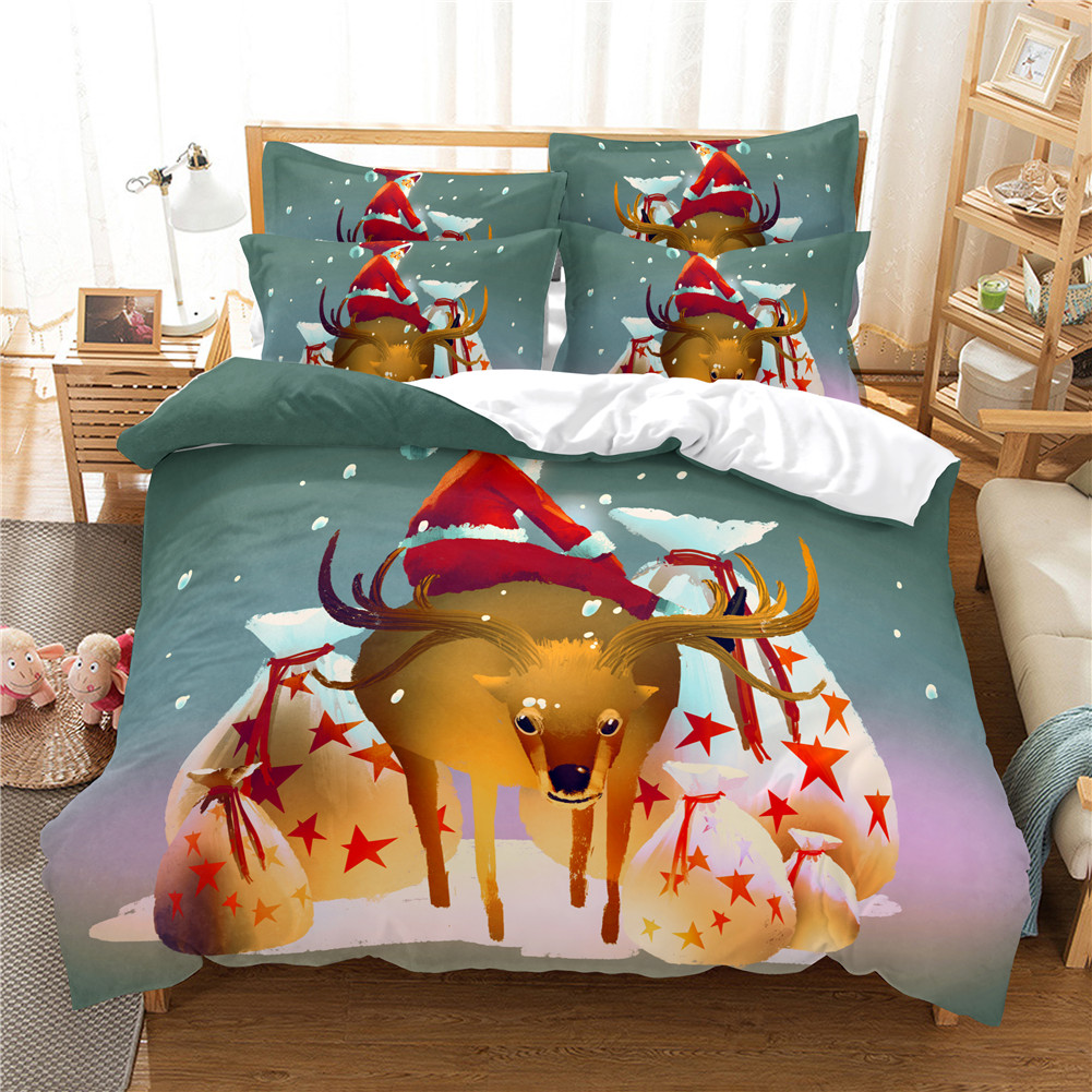 2Pcs/3Pcs Full/Queen/King Quilt Cover +Pillowcase 3D Digital Printing Christmas Series Beeding Set Twin
