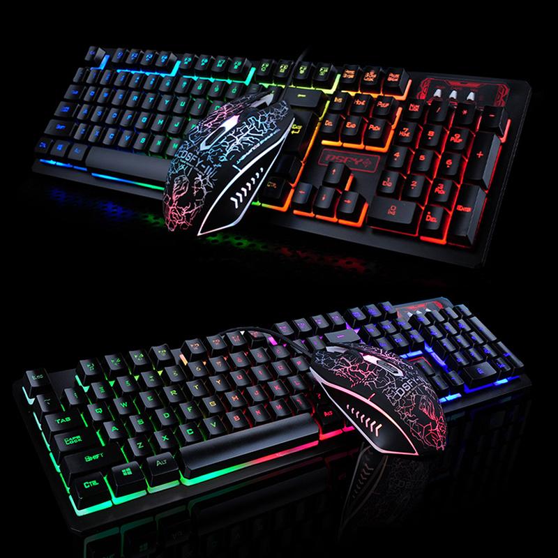 K13 Game Backlight Keyboard +Mouse Set for Laptop PC User black