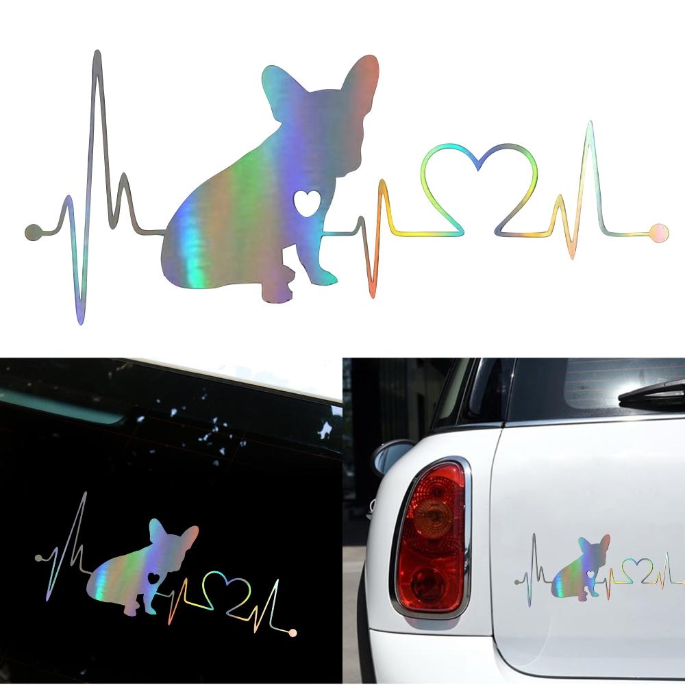 Decal French Bulldog Heartbeat 3D Vinyl Car Window Bumper Sticker  Photo Color