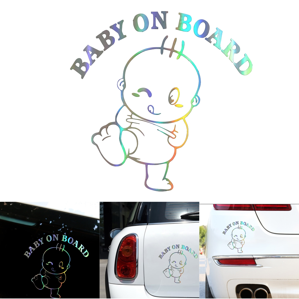 3D Baby on Board Car Decoration Sticker Car Warning Sticker Scratch Cover Cute Sticker Photo Color