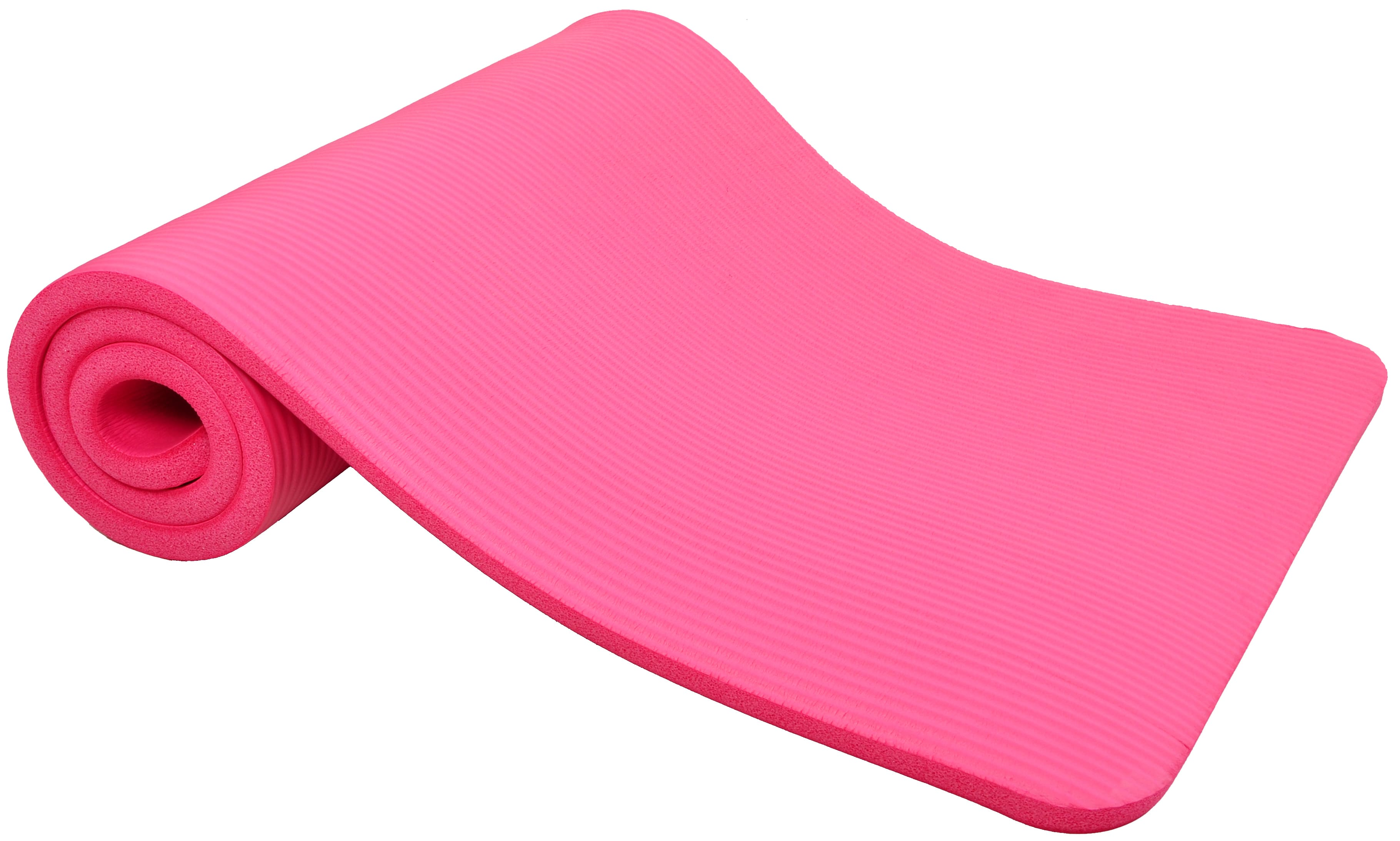 [US Direct] Original BalanceFrom GoCloud All-Purpose 1-Inch Extra Thick High Density Anti-Tear Exercise Yoga Mat with Carrying Strap, Black Pink
