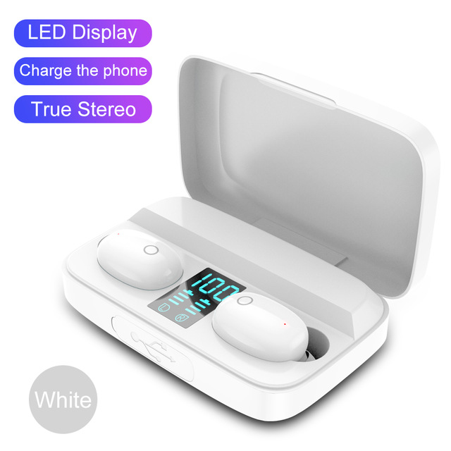 W2S Dual Earbuds TWS Bluetooth 5.0 Wireless Stereo Headset 1800mAh Sports Earphone white