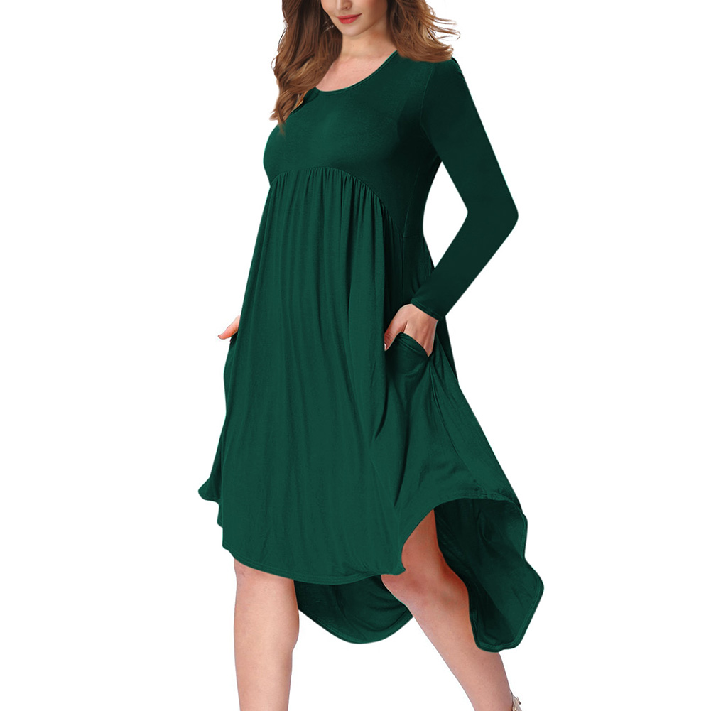 Lady Long Sleeve Irregular Dress Crew Neck Solid Color Over Size Dress with Pockets Dark green_2XL
