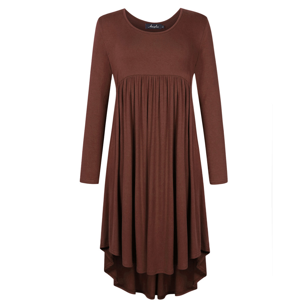 Lady Long Sleeve Irregular Dress Crew Neck Solid Color Over Size Dress with Pockets coffee_XL