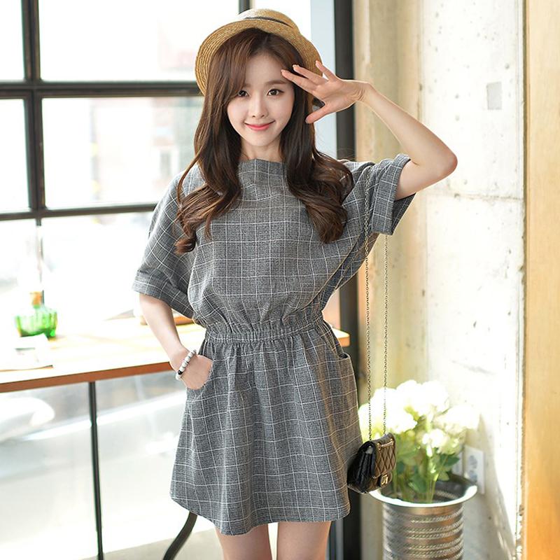 Women Summer Cotton Linen Plaid Printing Round Collar Batwing Sleeve Dress