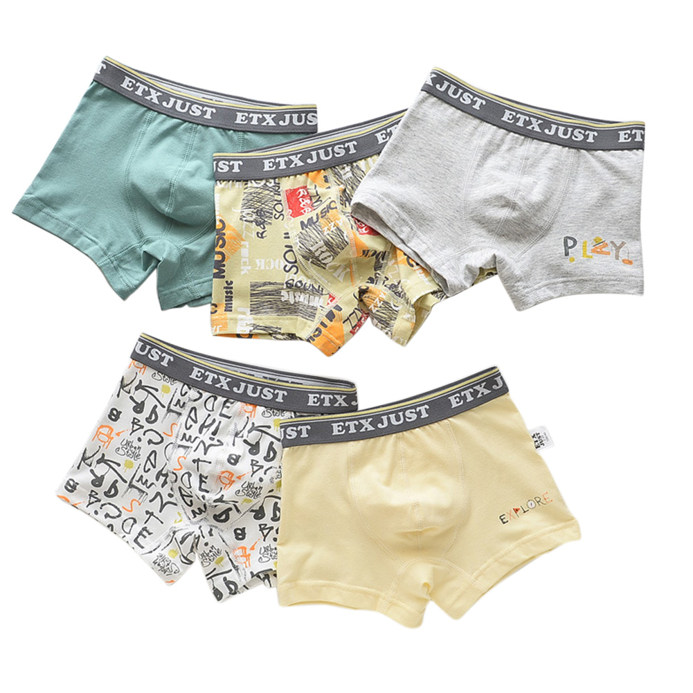 5pcs Kids Underwears Fashion Printing Boy Pure Cotton Breathable Boxer Briefs As shown