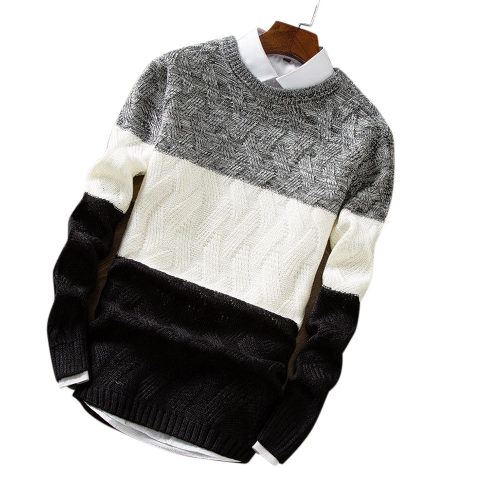 Unisex Knitted Thin Type Sweater Round Neck Pullover Warm Sweater Tops black_L