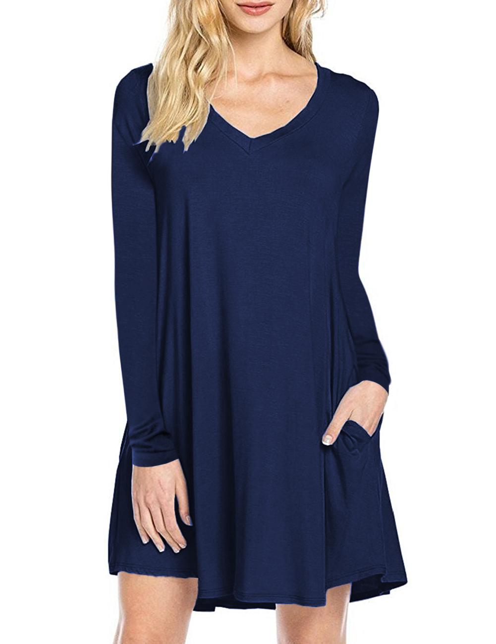 [US Direct] Leadingstar Women's Long Sleeve V-neck Swing Pocket Casual T-shirt Dress Royal blue_L