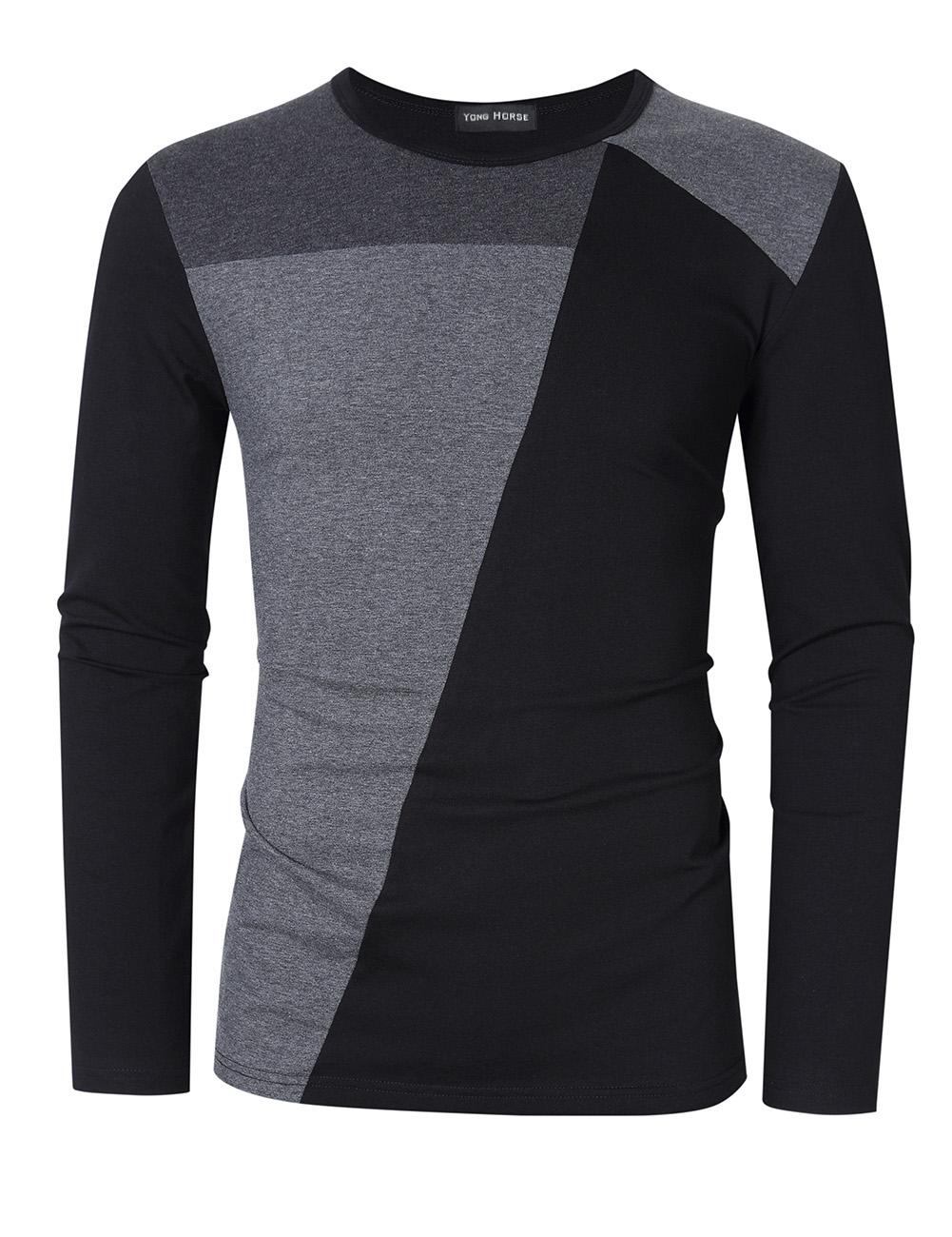 Yong Horse Men's Contrast Color Crew Neck Long Sleeve Basic T-Shirt Top Black gray_2XL