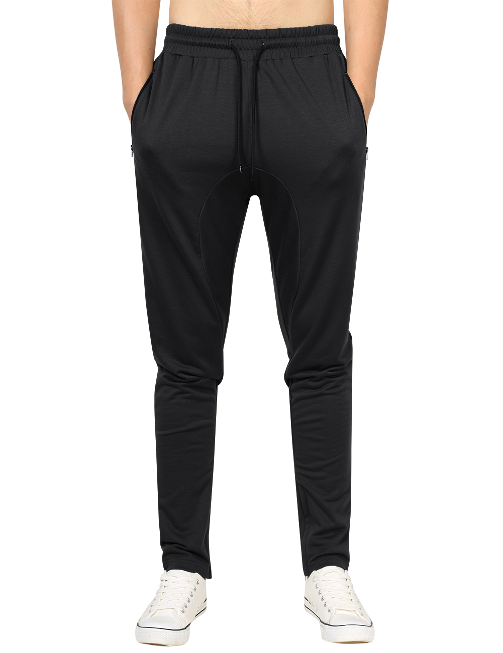 Yong Horse Men's Casual Joggers Slim Fit Ankle Zipper Pocket Drawstring Waist Open Bottoms Sweatpants Black_XL