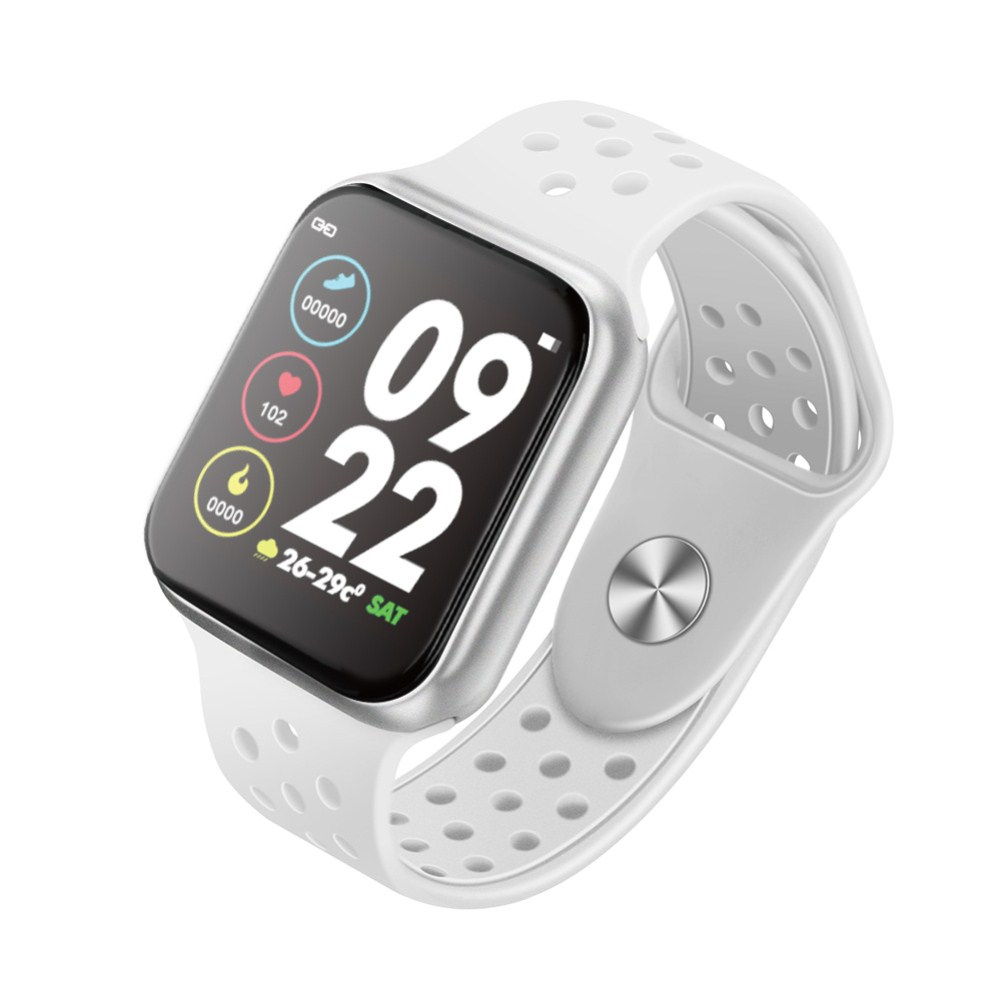 F9 Smart Bracelet Full Color Screen Touch Smartwatch Multiple Motion Patterns Heart Rate Blood Pressure Sleep Monitor  Silver shell white belt