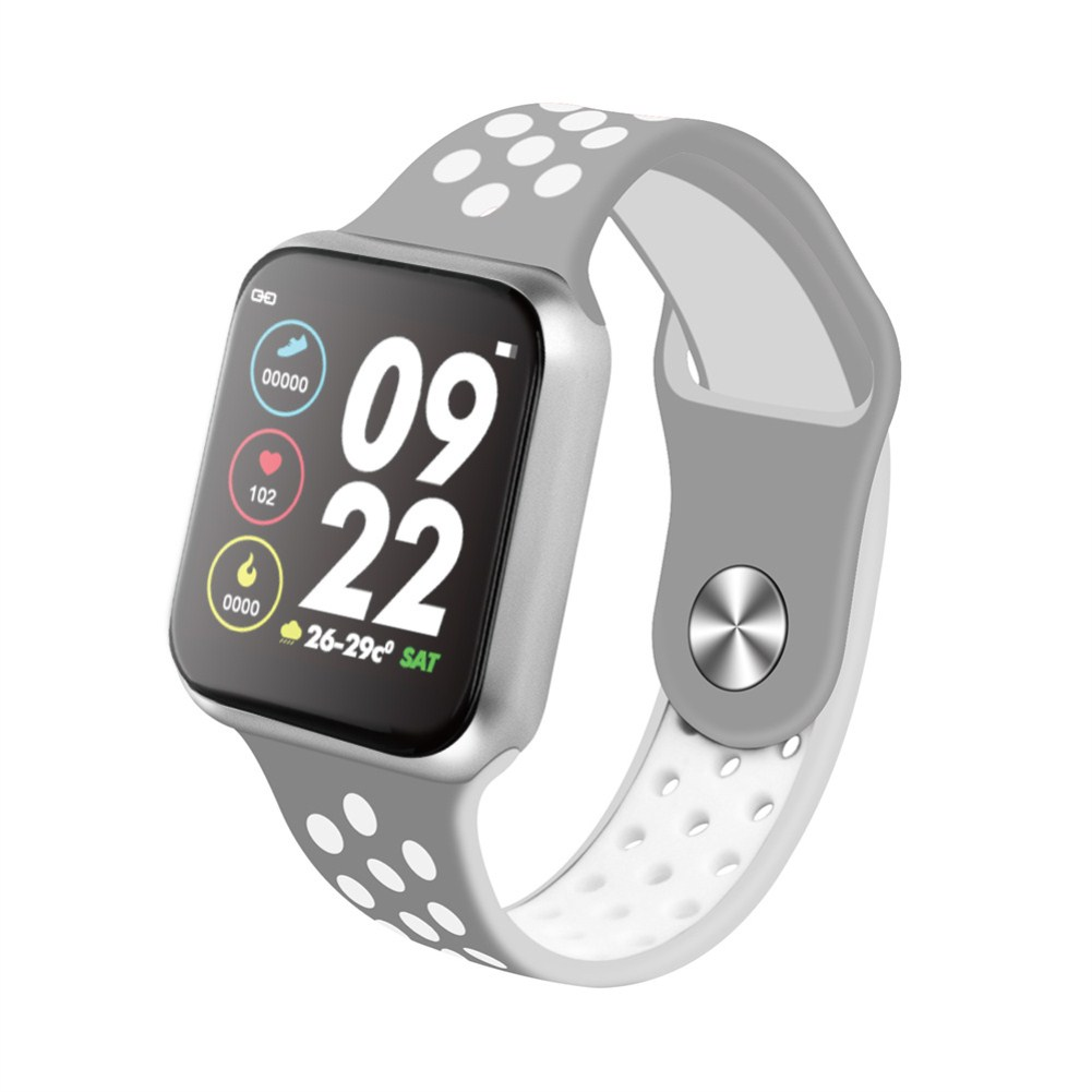 F9 Smart Bracelet Full Color Screen Touch Smartwatch Multiple Motion Patterns Heart Rate Blood Pressure Sleep Monitor  Silver shell gray white belt