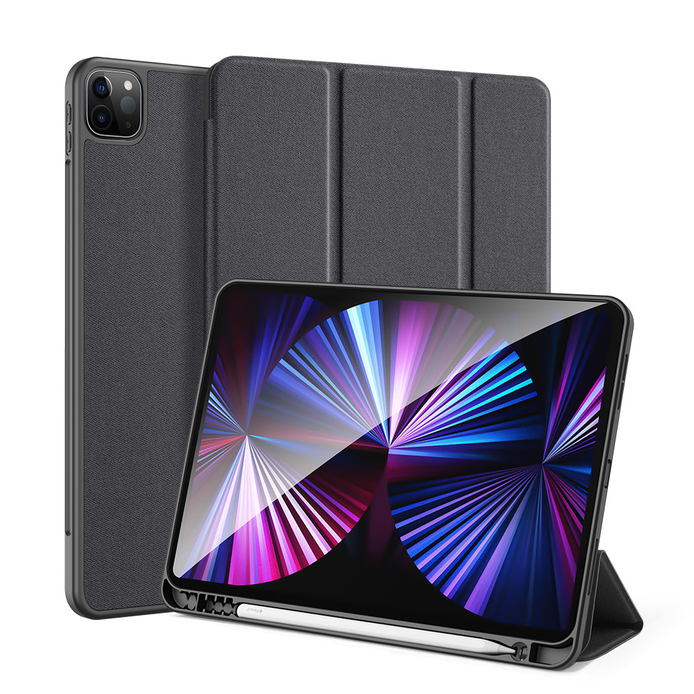 Solid Color Protective Case Tablet Case Cover With Pen Tray For Ipad Pro 11 2021 Black