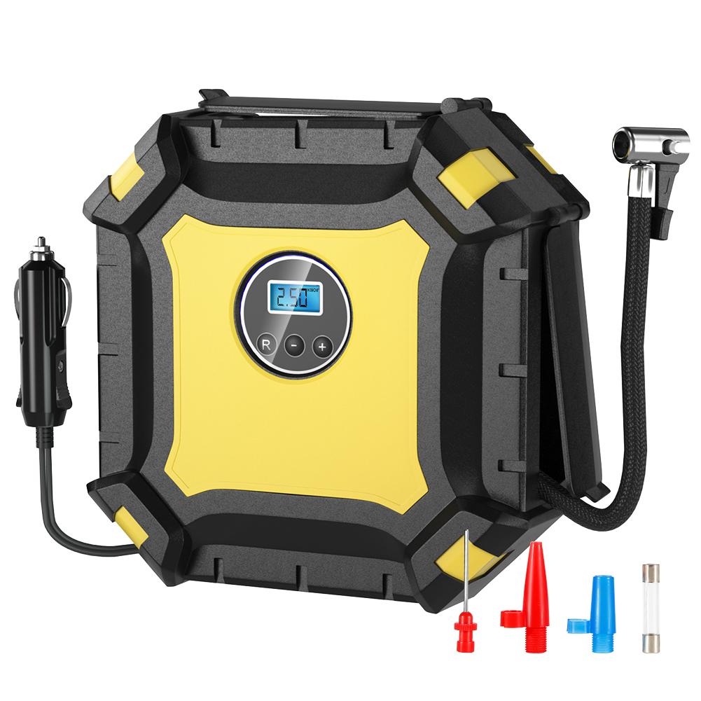 [US Direct] Car Inflatable Pump Digital Display Black + Yellow TP02 / BSD6022 No rules