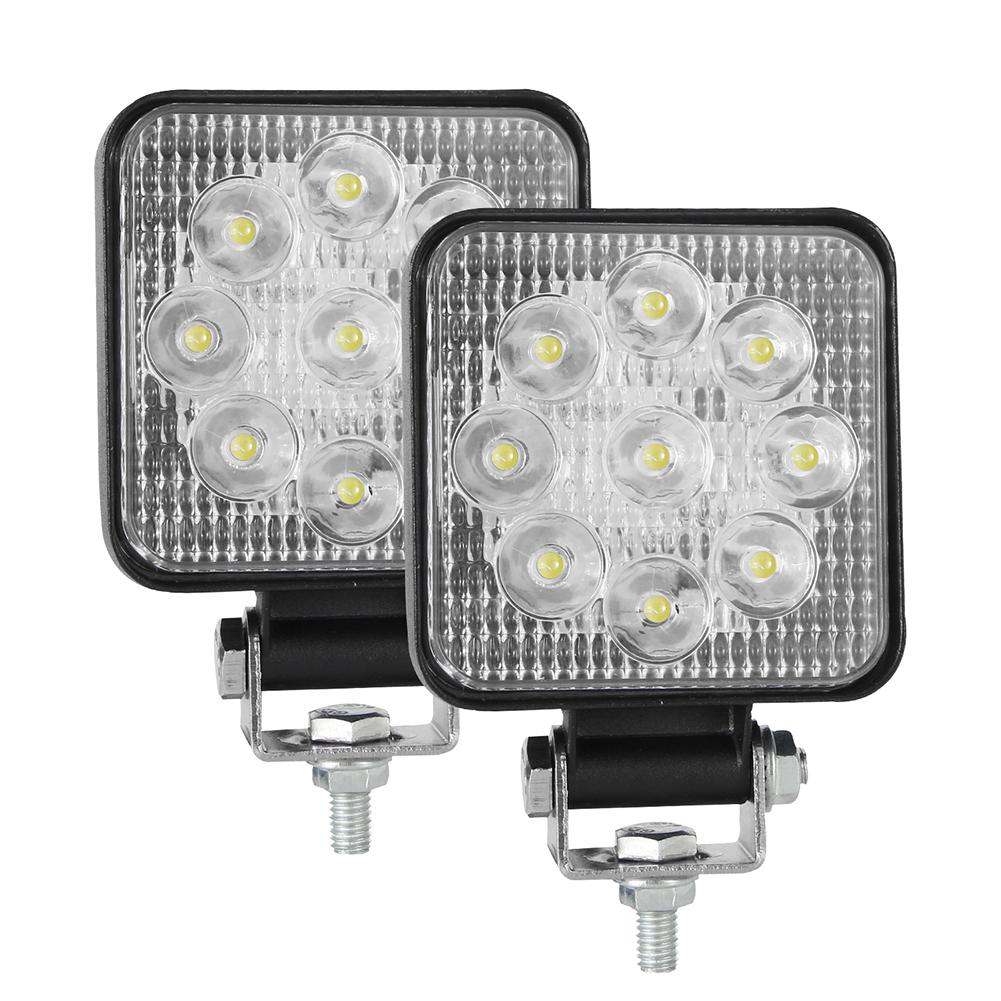 2PCS 10-30V 6000K 48W Car LED Light Mini 3 inch Nine beads Square Lamp Off-road Car Headlights