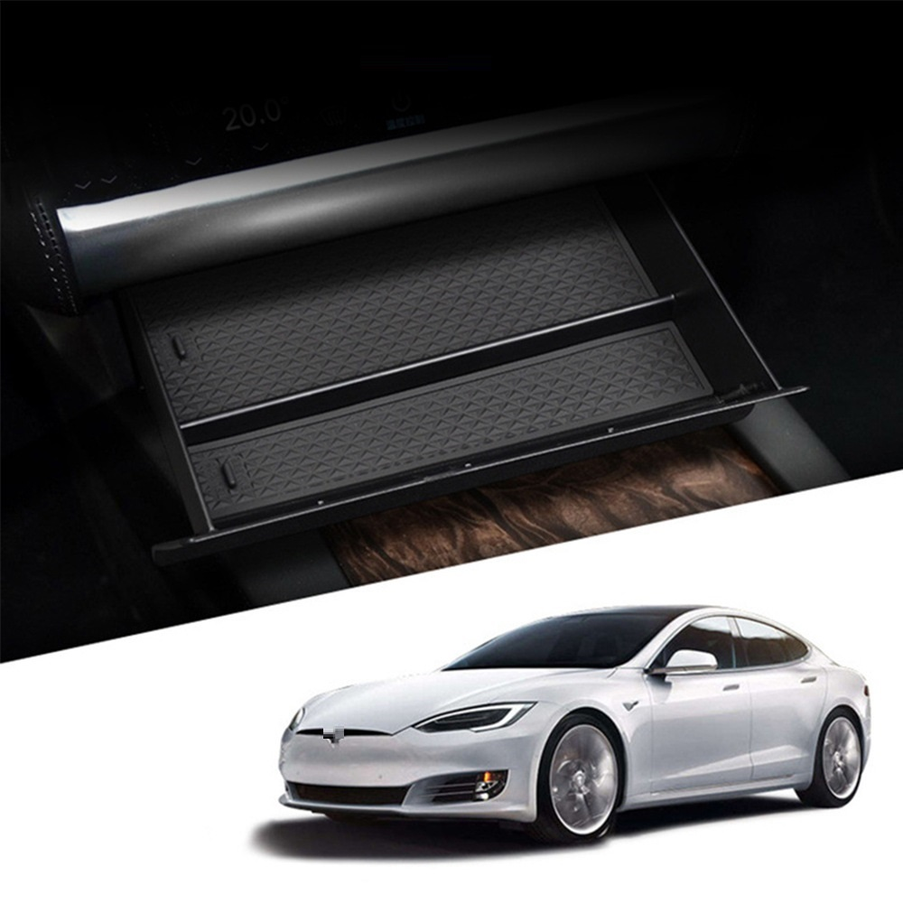 Car Style Center Console Storage Box Drawer Tray For Tesla Model S/ X Black