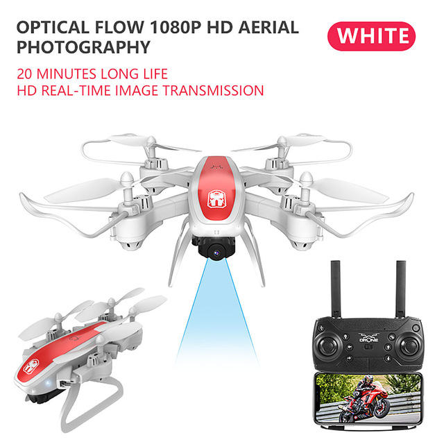 Drone Ky909 Hd 4k Wifi Video Live Fpv Drone Light Flow Keep Height Quad-axis Aircraft One-button Take-off Drone with Box white_1080P (color box)