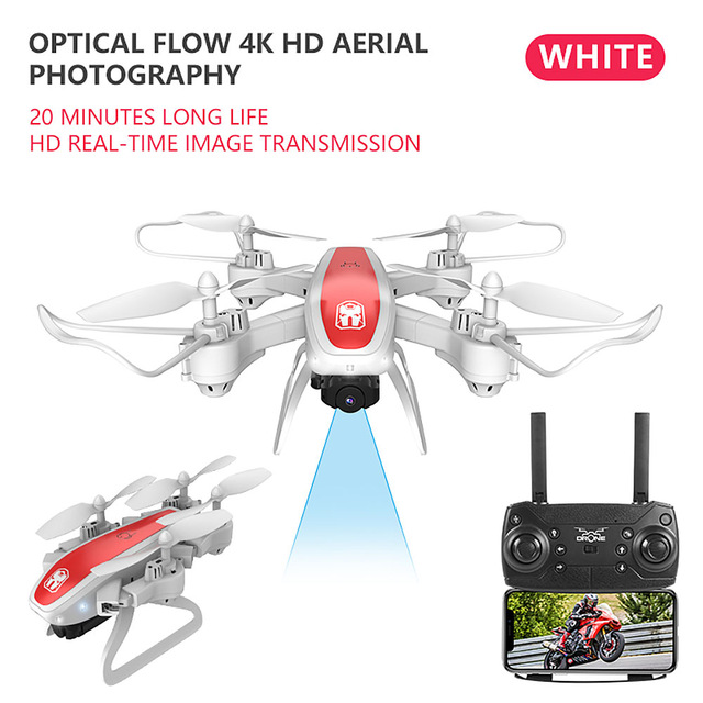 Drone Ky909 Hd 4k Wifi Video Live Fpv Drone Light Flow Keep Height Quad-axis Aircraft One-button Take-off Drone with Box white_4K (color box)