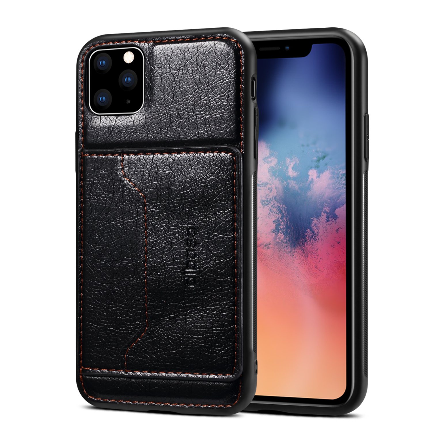 For iPhone 11/11 Pro/11 Pro Max Cellphone Smart Shell 2-in-1 Textured PU Leather Shock-Absorption Anti-Fall Card Holder Stand Function Phone Cover black