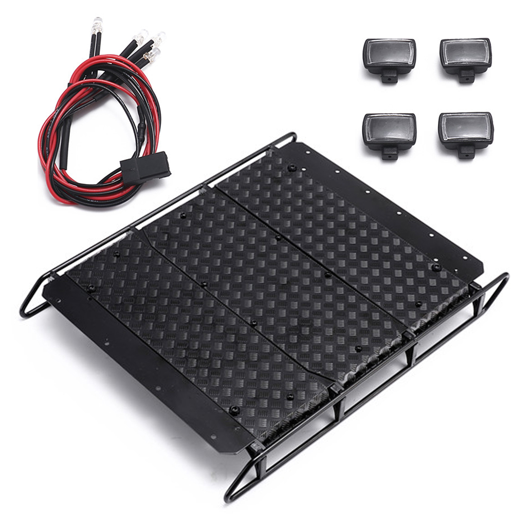 Metal Roof Luggage Rack with LED Searchlight for 1:10 TRAXXAS TRX6 G63/TRX4 G500 RC Crawler Car Accessories Luggage rack full set